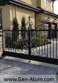 Double Swing Driveway Gate, Custom Hand Made Scrolls