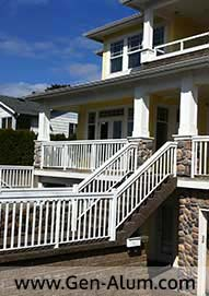 Aluminum Wood Look Railing, White Rock